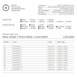 Mika Vainio + Ryoji Ikeda + Alva Noto Live 2002